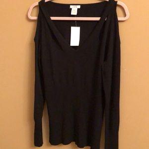 Cache open shoulder v-neck sweater